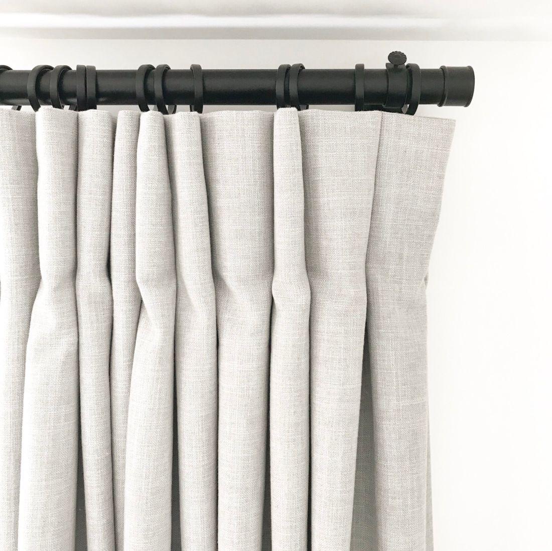 Black Drape Hardware with Grey Linen Drapes