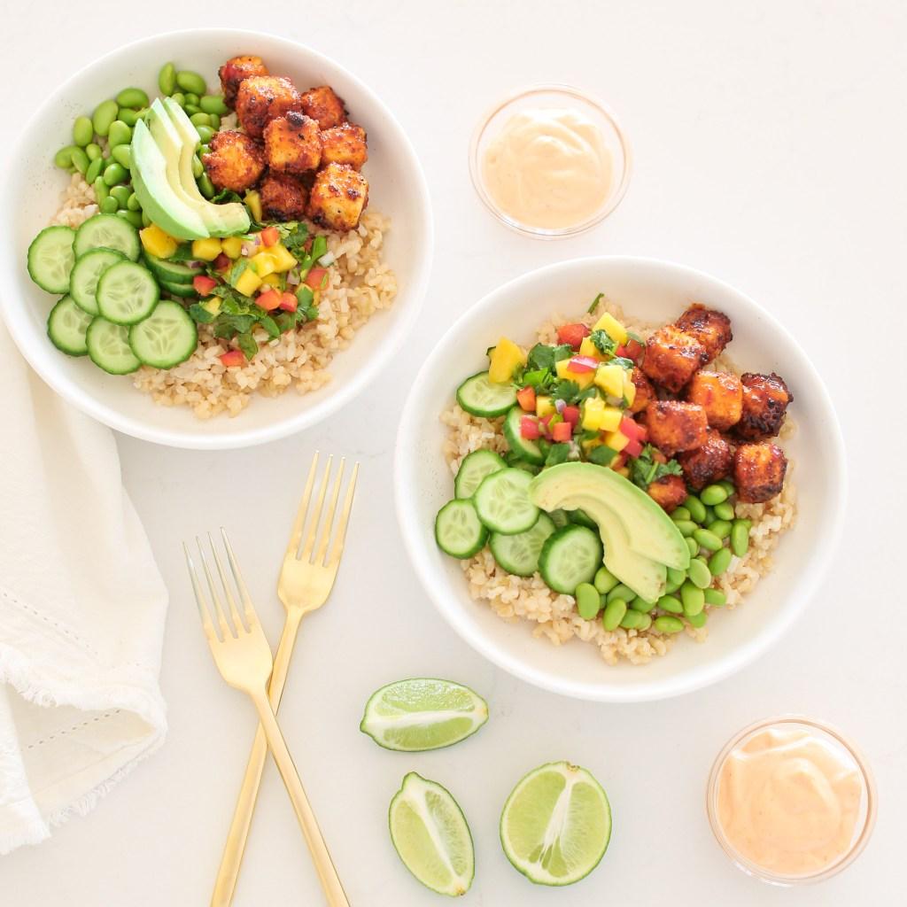 Vegan Crispy Tofu Bowl with Sriracha Mayo