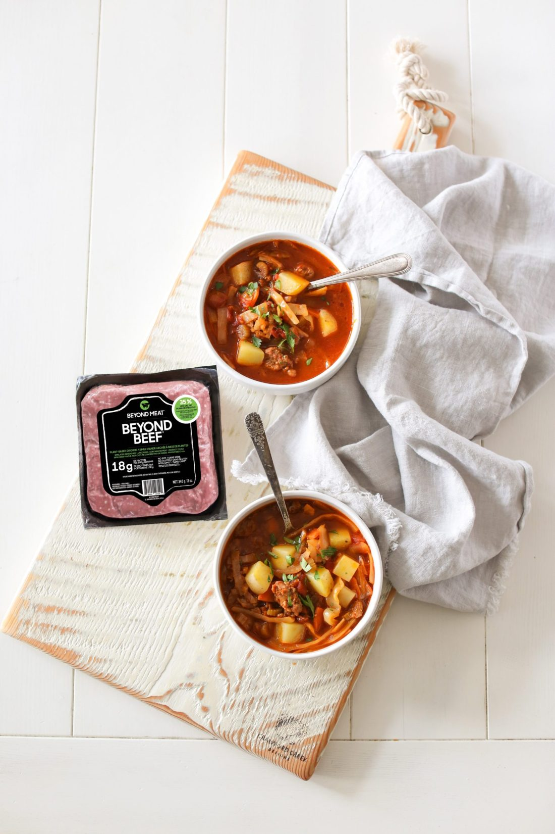 Plant Based Hamburger Soup Recipe using Beyond Beef that is totally vegan and loaded with healthy vegetables