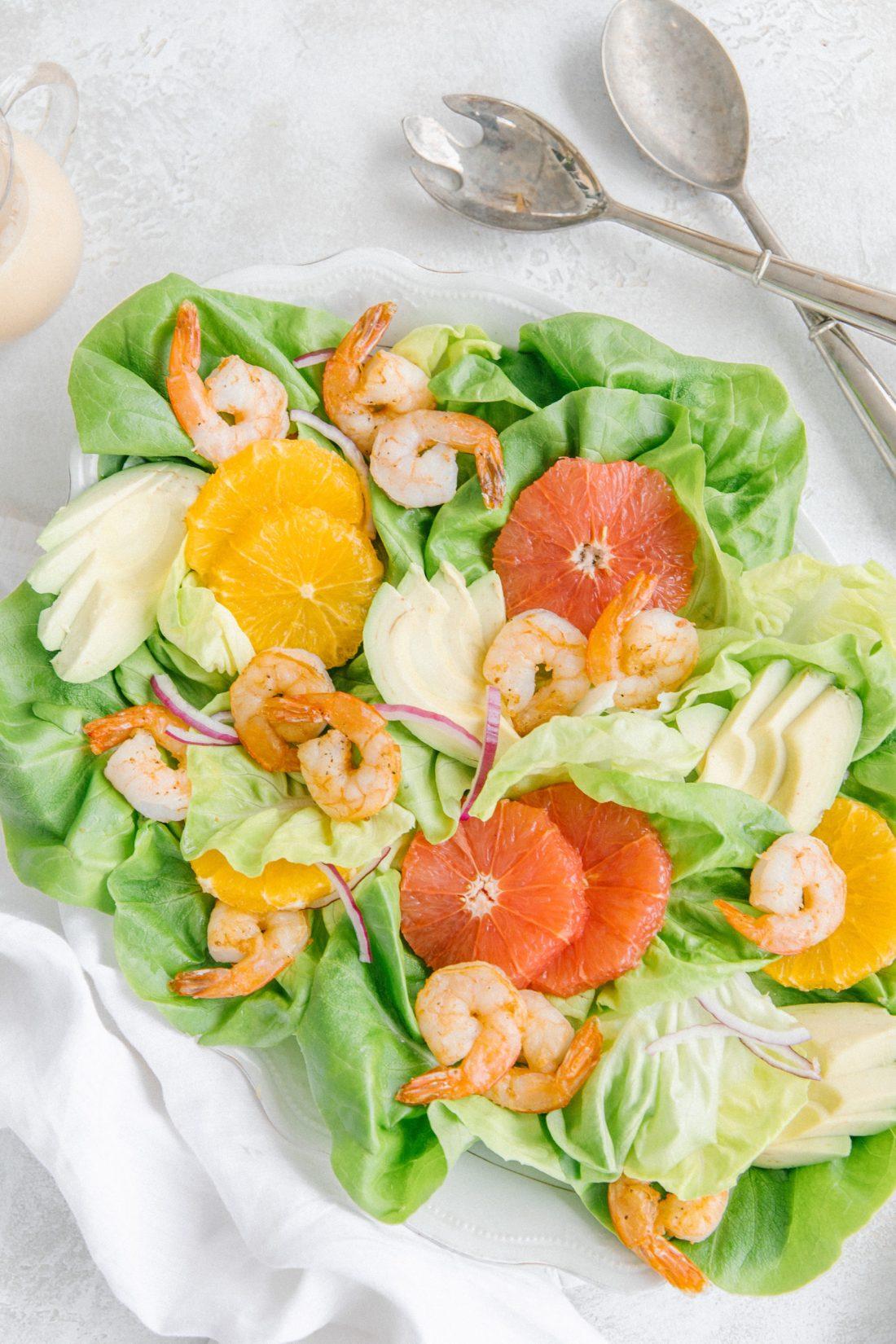Shrimp Avocado Citrus Salad recipe paired with Spring 2020 Rosè