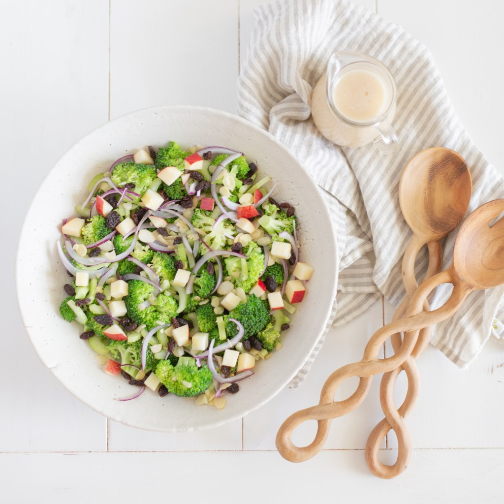 Healthy Broccoli salad with apples and raisins and almonds