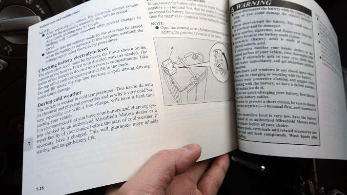 Vehicle owner's manual for car and maintenance care info