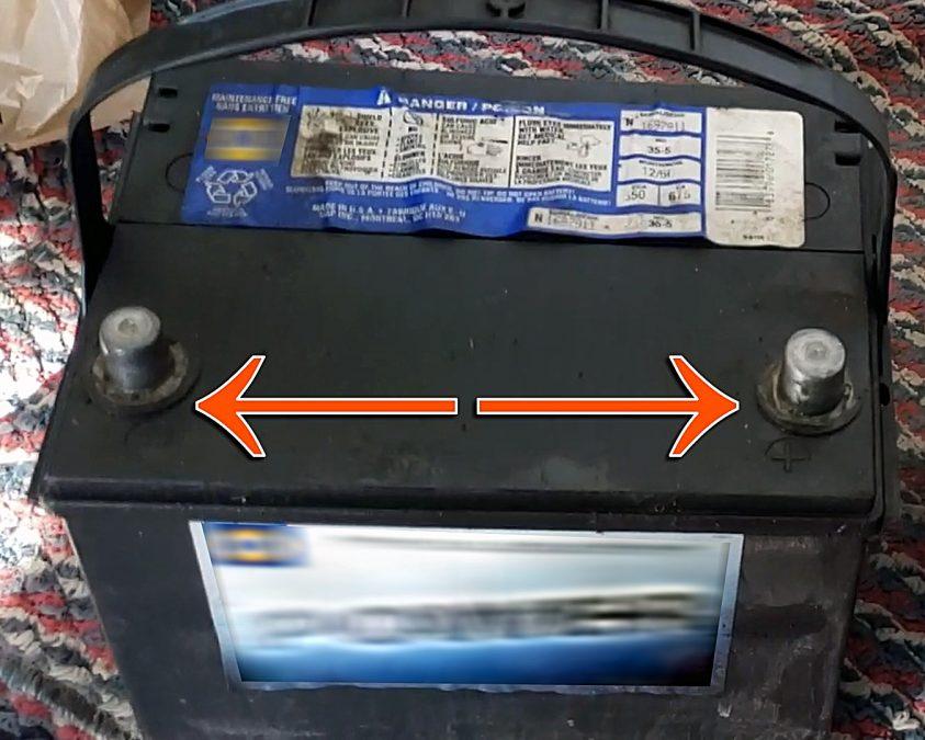 Do not short circuit 12V Car battery terminals