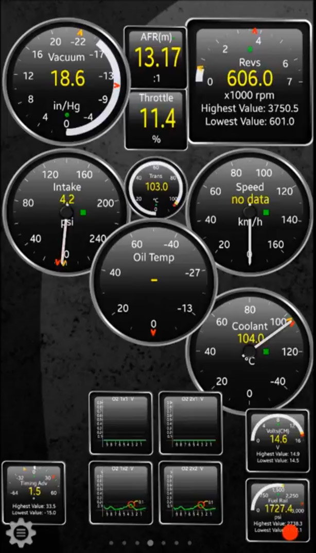 Torque app screenshot used with OBD II Bluetooth WiFi adapter