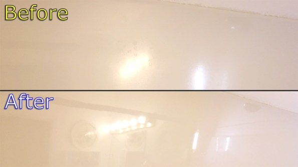 Before/After result for cleaning shower/bathtub of soap scum, mineral deposits