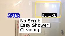 How to clean shower bathtub & curtain soap scum & mildew - Fast Easy NO scrub bathroom lifehack DIY