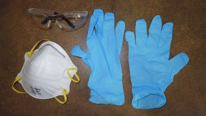 Safety glasses, particulate mask, nitrile gloves