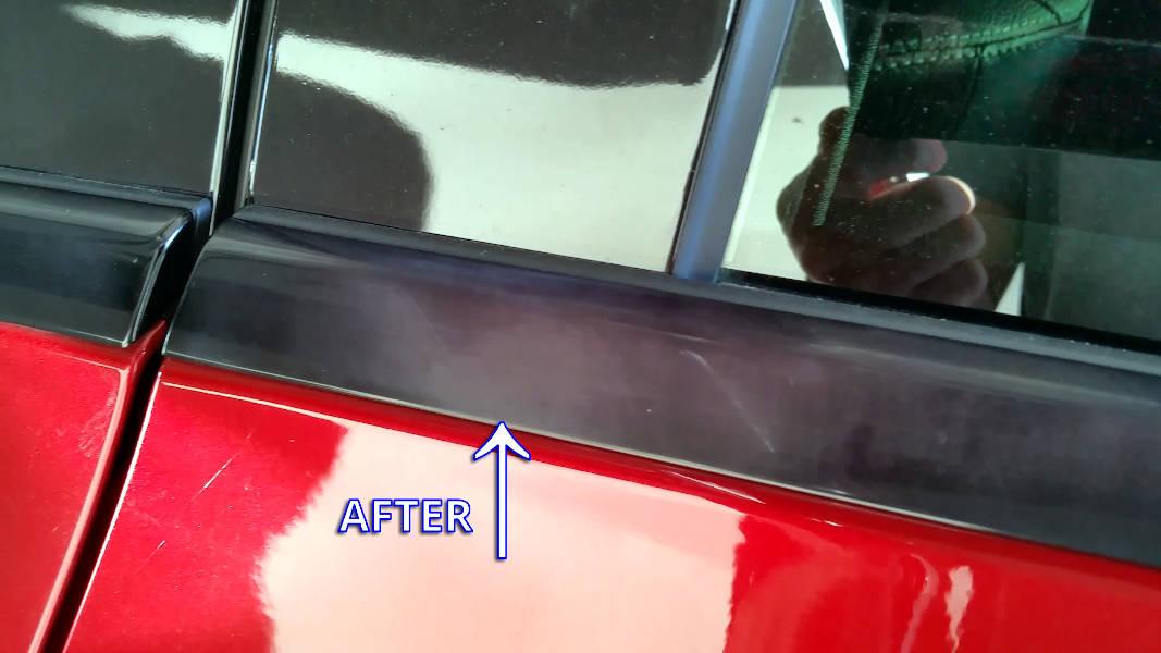 Automatic car wash damaged black chrome trim on Mercedes-Benz C450 AMG C-Class