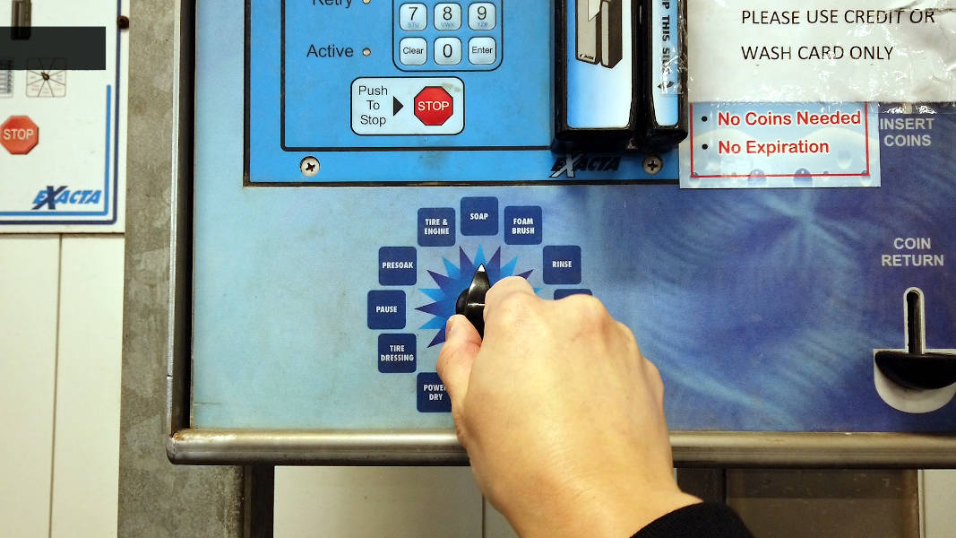 Self-serve car wash control panel dial options