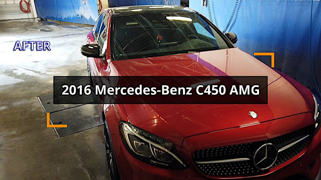 Mercedes-Benz C450 cleaned at a self-serve car wash
