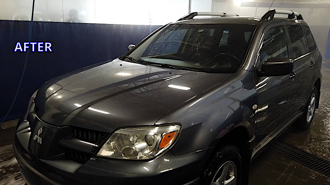 Mitsubishi Outlander cleaned at a self-serve car wash