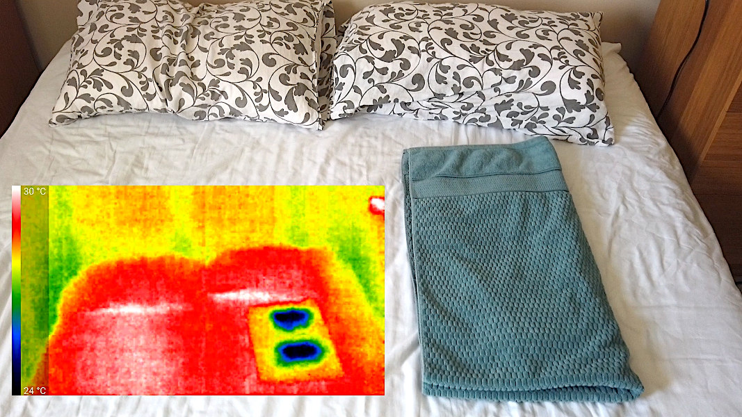 Image of bed cooling hack with IR image