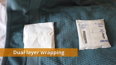 Dual layer wrapping example for ice packs (1 of 2)