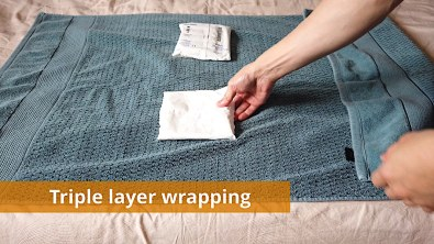 Triple layer wrapping example for ice packs (1 of 3)