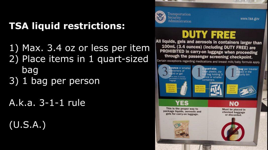 TSA  liquid restrictions (U.S.A.)