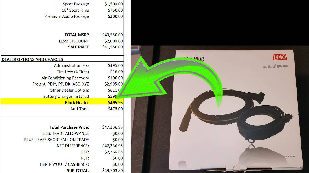Expensive charge for a block heater to be installed at the dealership as Dealer Option