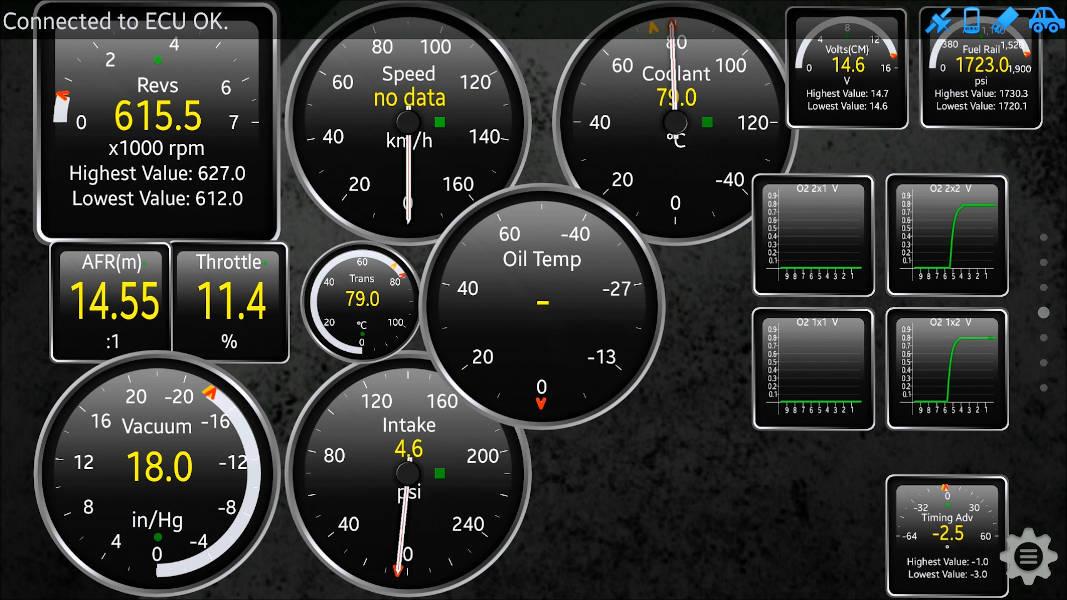 Torque app showing several sensor gauges including AFR, RPM, Speed, Coolant Temp., Intake pressure, Vacuum, battery voltage, O2 sensor values