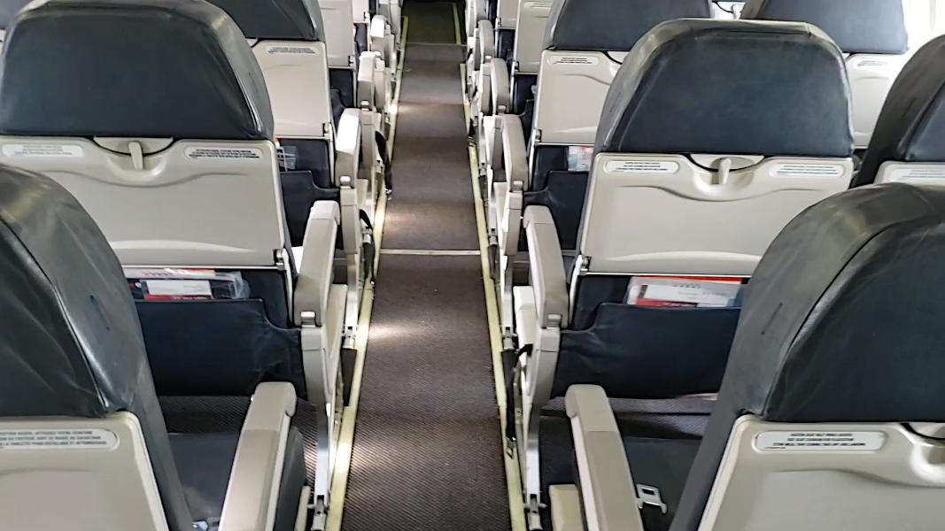 Middle isle of an airplane cabin