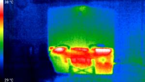 Infrared image of laptop heat signature on portable laptop stand