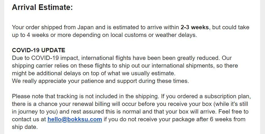 Bokksu 2_No tracking message