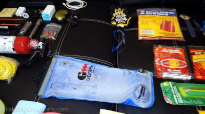 Hydration pack for car emergency kit