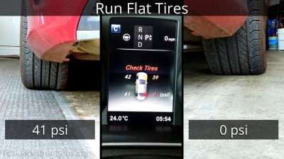 TPMS showing one flat tire on a Mercedes-Benz C-Class