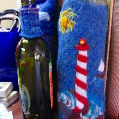 Felted Wine Sac handmade by Ewe 2 Twisted Sisters, two best friends who live in Ocean County.