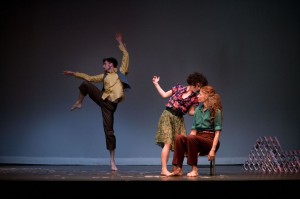 Photo by Jori Ketten. Dance Exchange artists Matthew Cumbie, Sarah Levitt, and Shula Strassfeld (in order) in Cassie Meador's How To Lose a Mountain