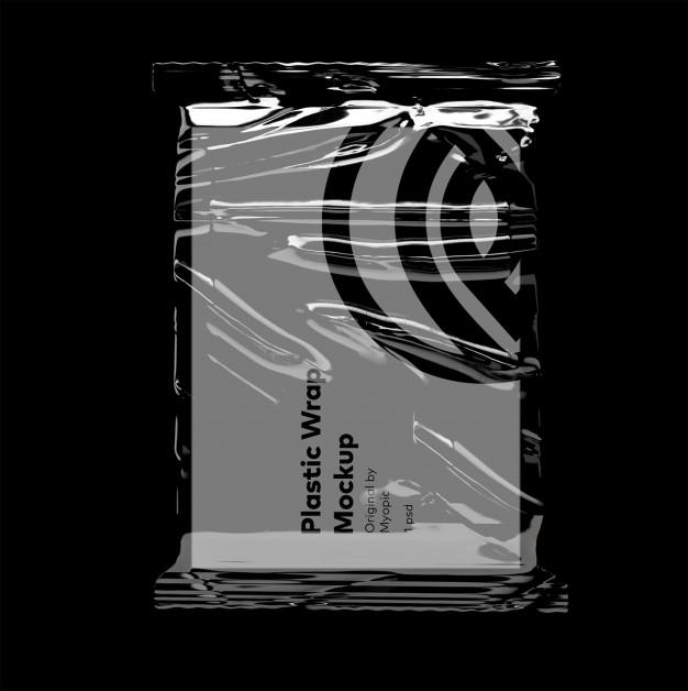 Realistic plastic pocket bag mockup, zipped bag. Transparent Bag Mockup Frameru