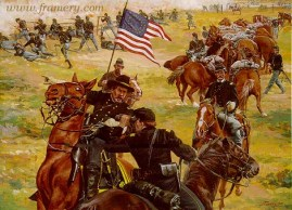 """FIGHTING FOR TIME Gen. Buford and his cavalrymen hold their positions near Gettysburg until reinforcements arrive. July 1, 1863. Image size 18 X 24.5"""" In stock and available Current price $175"""