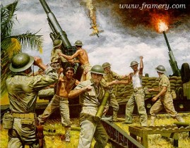 """FIRST TO FIRE Dec. 8, 1941, at Clark Field in the Philippines, the 200th Coast Artillery was the first to fire on the enemy. Image size 16.5 X 21"""" In stock and available Current price - $150"""