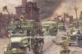 """KEEP 'EM ROLLING! During WW II supply units battle to bring necessary supplies to combat troops. Image size 16.5 X 25"""" Current price - Call"""