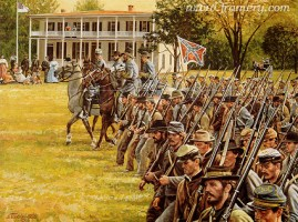 """PASSING THROUGH The capture of Carlisle, Pa., by Confederate troops under the command of Maj.Gen. Richard Ewell, June 28, 1863. Image size 18 X 25"""" In stock and available Current price - $175"""