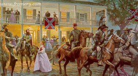 SABERS AND ROSES by Dale Gallon J.E.B. Stuart and his men leave a ball in Urbana, Md., to drive off nearby Yankee raiders, Sept. 8, 1862. In stock and available Current price - $400
