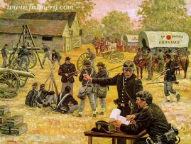 """SERVICE TO THE LINE The Union Army's First Corps ordnance men repair weapons near the battle lines at Gettysburg, July 1, 1863. Image size 17.5 X 23"""" In stock and available Current Price: $150"""