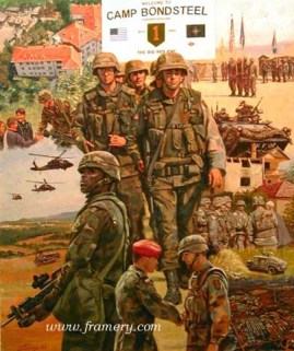 """TASK FORCE FALCON The First Infantry Division in Kosovo as part of Operation Joint Guardian, June 1999. Image size 22 X 18"""" In stock and available Current price - $150"""