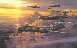 """VALOR IN THE PACIFIC by Robert Taylor Image size: 25 X 34"""" B29s of the 499th Bomb Group, 73rd Wing of the 20th Air Force after a daylight raid on Tokyo with Companion Print FORTRESS UNDER ATTACK Image size: 14 X 18"""" In stock and available Current price - $350 (for both)"""