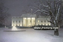 "WINTER'S EVE by Rod Chase The White House on a snowy evening Giclee on Canvas 30 X 45"" $1600 Print on Canvas 24 X 36"" $450 Print on Paper 30 X 20"" $195"