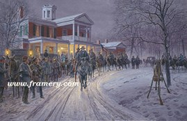 "MERRY CHRISTMAS, GENERAL LEE General Lee is greeted by civilians as he leaves a holiday dinner. Dec. 25, 1862, Fredericksburg, Va. Image size 18 X 28"" Issue price: $225"