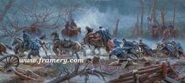 "THE MUD MARCH Fredericksburg, Va., January 21, 1863 Union's Army of the Potomac advances during a fierce winter storm Image size 13.5 X 30"" In stock and available Current price - $225"