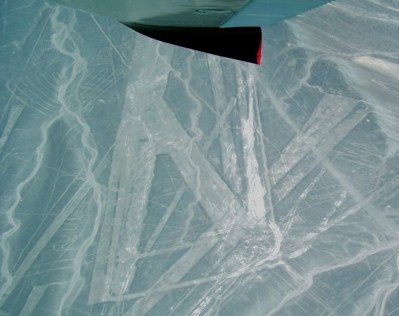 Nazca lines below our plane