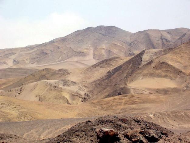 Desert hills along the Pan American Highway in Peru, South America