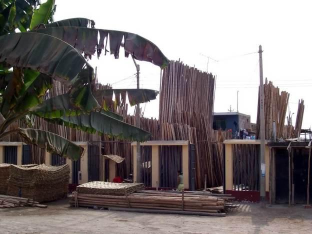 lumber market along pan american highway, peru