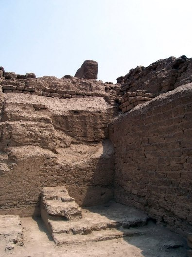 Adobe brick walls at the Temple of Pachacamac ruins south of Lima in Peru, South America