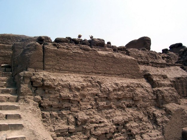 Brick walls at the Temple of Pachacamac ruins near Lima in Peru, South America