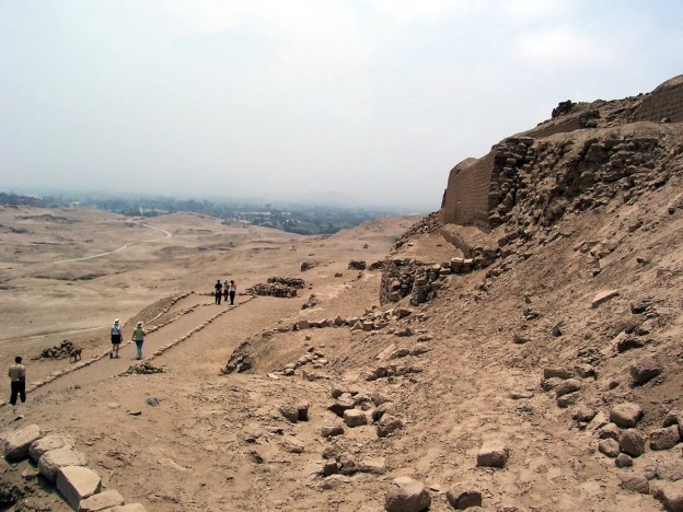 Walkway alongside the Temple of Pachacamac ruins south of Lima in Peru, South America