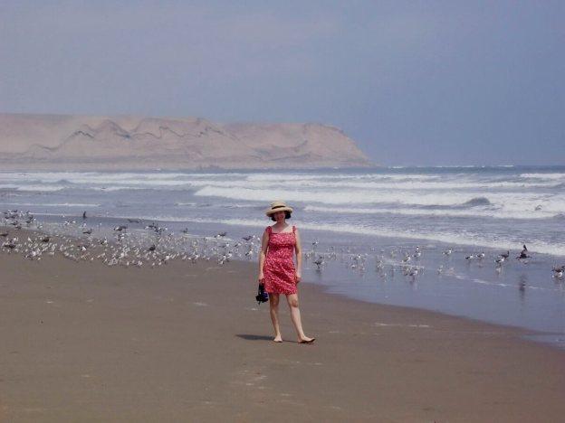 walking the beach at playa sarcpampa, peru