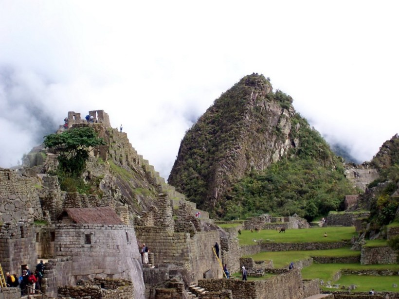 An image of the astronomical observatory building at Machu Picchu in Urubamba Province, Peru