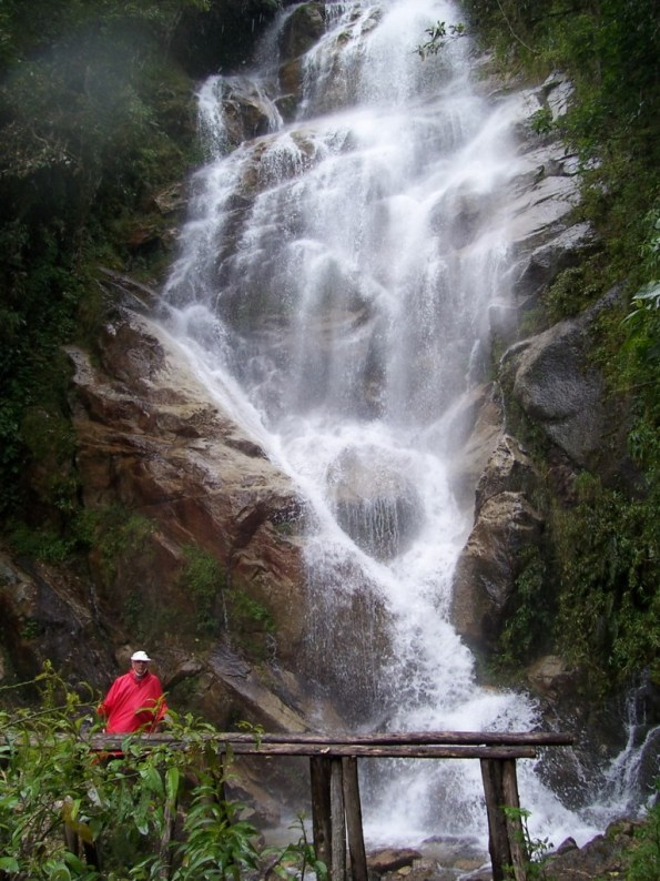 Bob at the waterfalls near the Wiñay Wayna ruins on the Inca Trail in Peru, South America