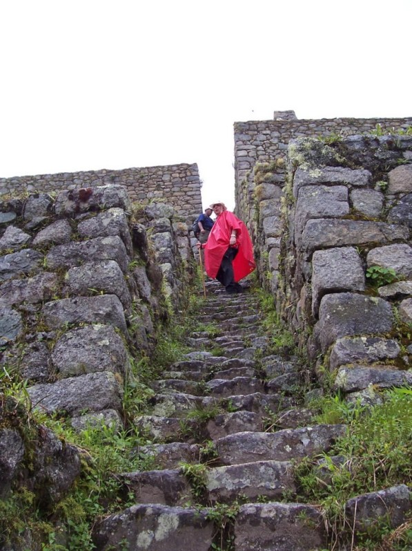 Bob climbs the stone steps at the Wiñay Wayna ruins on the Inca Trail in Peru, South America